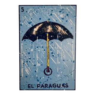 """""""El Paraguas"""" Painting From """"La Lotería"""" by Carlos E. Ortiz For Sale"""
