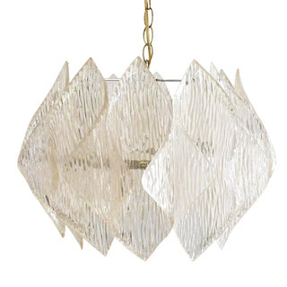 Mid-Century Modern Folded Acrylic Clear Hard Wired Chandelier For Sale