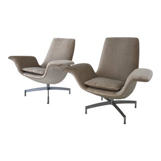 Mid Century Dialogue by Hbf Lounge and Swivel Wing Chairs - a Pair For Sale