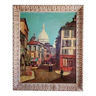 "Vintage Mid-Century Framed Oil Painting of Paris Street by ""Dee"" For Sale"
