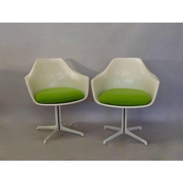 Mid-Century Modern Burke White Fiberglass Swivel Dining Chairs - Set of 4 For Sale - Image 3 of 6