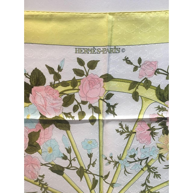 BEAUTIFUL Hermes Vintage Romantique Silk Scarf in Yellow in excellent condition. Original silk screen design c1973 by...