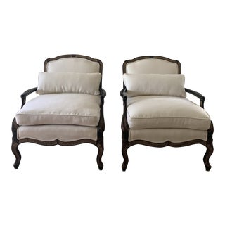 Ebony Chinoiserie Bergere Style Lounge Chairs Upholstered in White Linen - a Pair For Sale