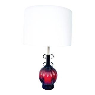 1950s Vintage Crimson Murano Glass Ball Lamp