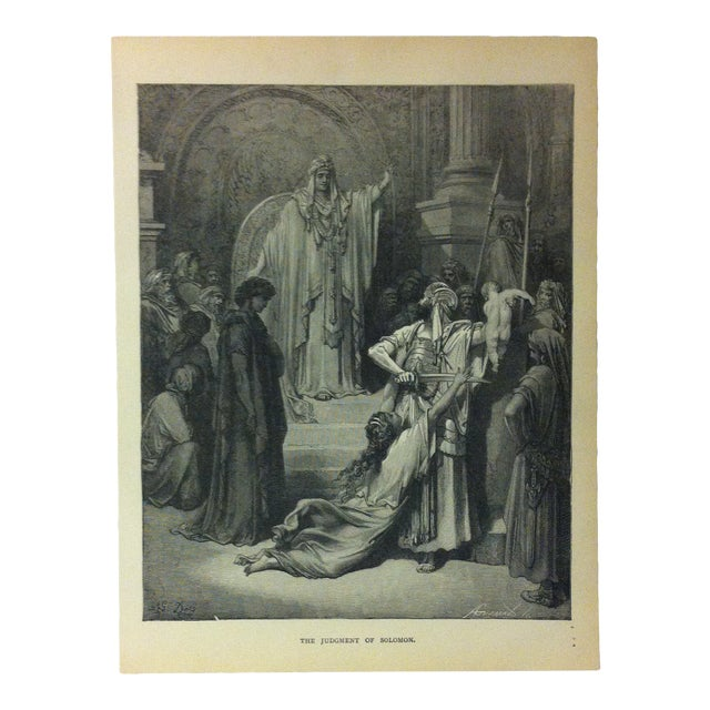 """Antique Gustave Dore Illustrated Print, """"The Judgement of Solomon"""", 1901 For Sale"""