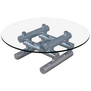 1970s Stacked Aluminum Italian Coffee Table For Sale