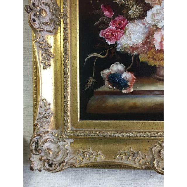 Ornate Floral Oil Painting - Image 3 of 5