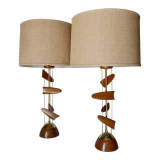 """Pair of Unusual Brass and Mahogany """"Kinetic"""" Lamps Attributed to Modeline of California C. 1950s For Sale"""