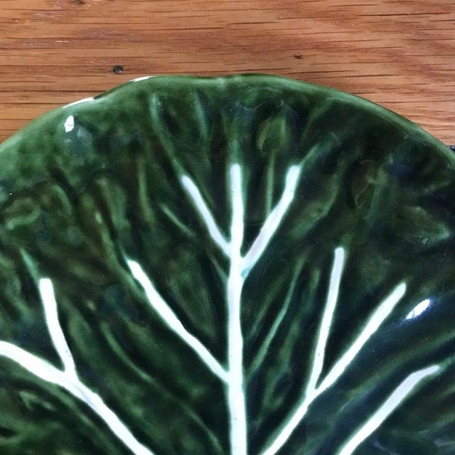 Boho Chic Vintage Portuguese Ceramic Cabbage Platter For Sale - Image 3 of 9
