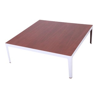 Mid-Century Modern Style Walnut Large Square Coffee Table by Coalesse For Sale