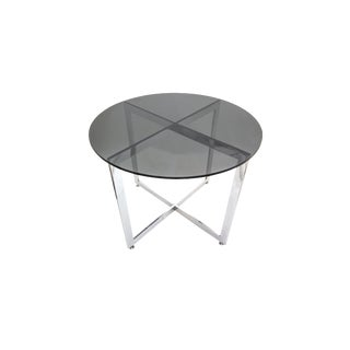 1980s Mid-Century Modern Chrome X Base and Gray Round Glass Top Small Dining Table For Sale