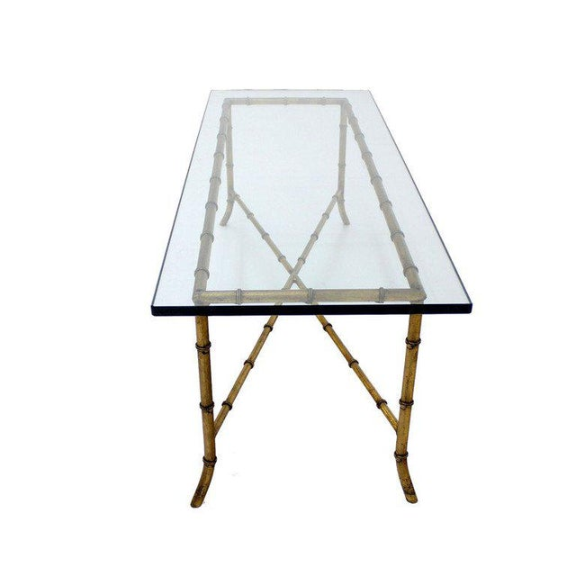 Brown X Base Rectangular Mid Century Modern Gilt Faux Bamboo Glass Top Coffee Table For Sale - Image 8 of 9