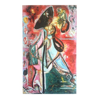 "Jackson Pollock Foundation Abstract Expressionist Collector's Lithograph Print "" the Moon - Woman "" 1942 For Sale"