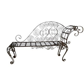 Antique French Hand Forged Wrought Iron Chaise Lounge For Sale