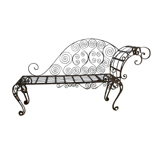 Lovely Antique French Hand Forged Wrought Iron Chaise For Sale