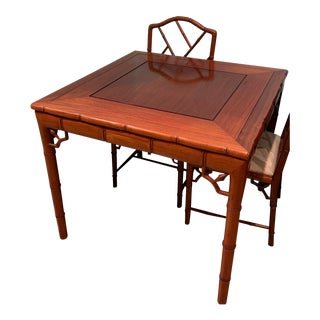 Chinese Chippendale Faux Bamboo Game Table Dining Table For Sale