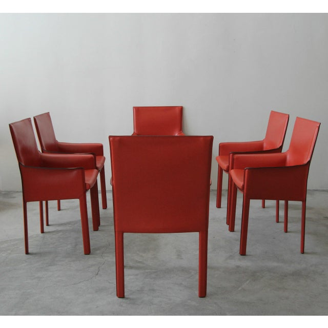 Set of 6 Orange Italian Leather Dining Chairs by Enrico Pellizzoni For Sale - Image 13 of 13