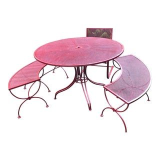 Mid-Century Modern Salterini Style Heavy Iron Patio Set with Curved Benches - Set of 3 For Sale