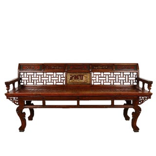 Antique Chinese Carved Long Bench For Sale