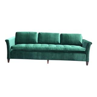 Mid-Century Green Velvet Sofa For Sale