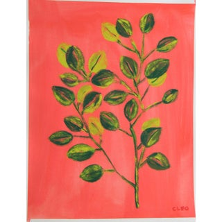 Chinoserie Botanic Tropical Leaves Painting by Cleo Plowden For Sale