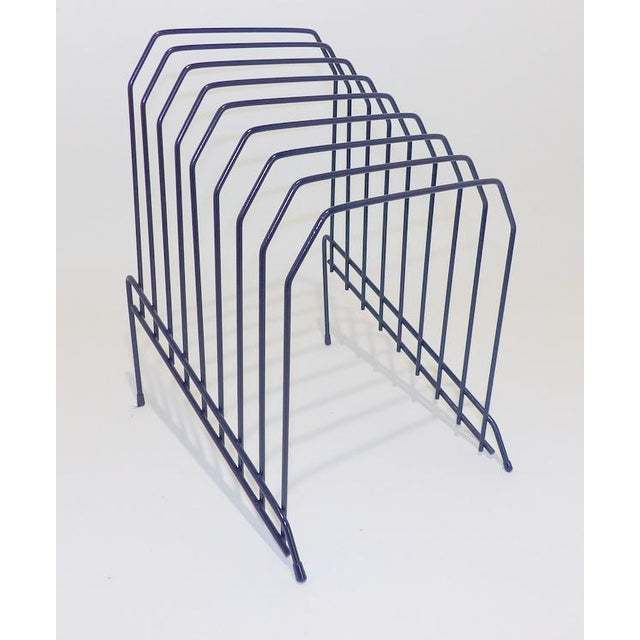 Metal Slanted Navy Blue Metal Wire Desktop File For Sale - Image 7 of 7