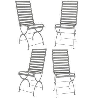Mid-Century Iron Slatted Chairs For Sale