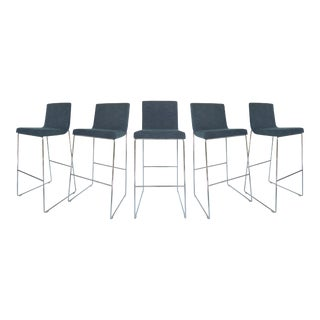 Contemporary Stainless Steel Upholstered Bar Stools - Set of 5 For Sale