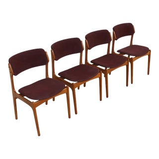 Set of 4 Danish Modern Dining Chairs in Teak by Erik Buch For Sale