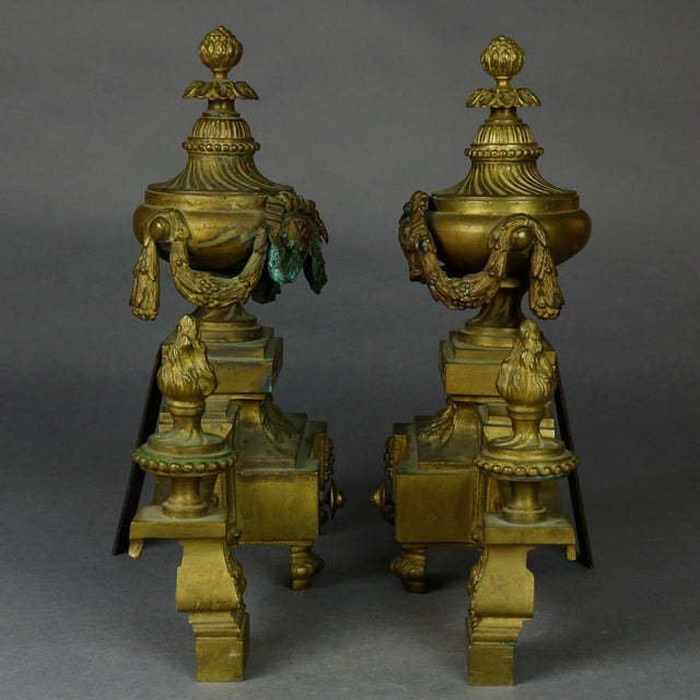 Antique French Empire Figural Bronze Urn and Flame Form Fireplace Andirons- A Pair For Sale - Image 4 of 8
