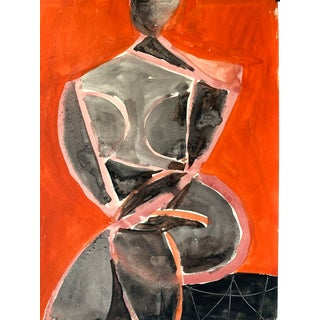 "Mid Century ""Orange and Black Cubist Figure"" Painting For Sale"