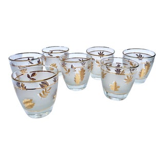 Libbey Gold Autumn Leaves Highball Glasses -Set of 7 For Sale