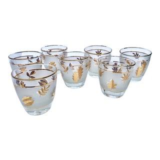 Libbey Gold Autumn Leaves Highball Glasses -Set of 7