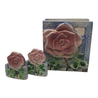 1950s Ceramic Napkin Holder With Matching Salt & Pepper Set - 3 Pieces For Sale