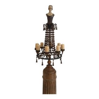 Wood Column Wood Pedestal French Doll Candelabra For Sale