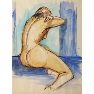 Vintage French Mid-Century - Blue Nude For Sale