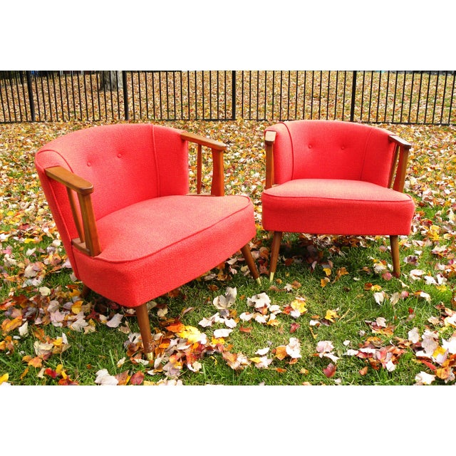 Mid-Century Lounge Chairs in Red - A Pair - Image 4 of 7