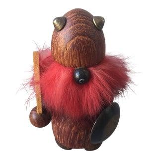 Vintage Viking Wooden Figurine For Sale