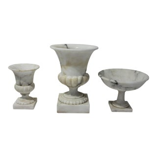 Vintage White Marble Urns and Compote - Set of 3 Pieces For Sale