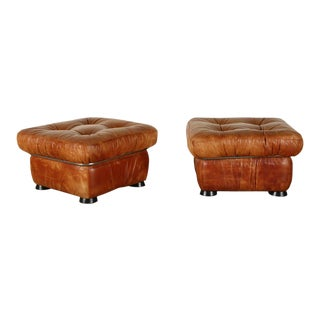 Pair of Italian Chrome and Leather Stools For Sale
