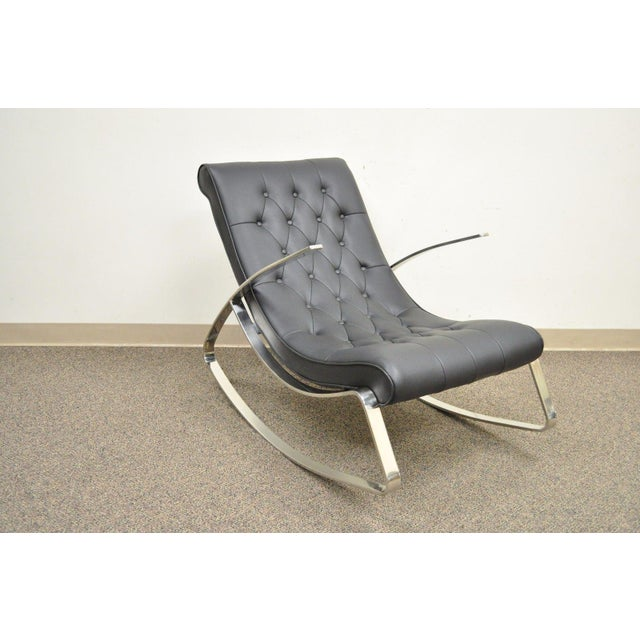 Contemporary Modern Chrome Steel Rocker Rocking Lounge Chair Mid Century Style - Image 3 of 10