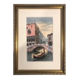 1980s Watercolor Painting of Venice For Sale