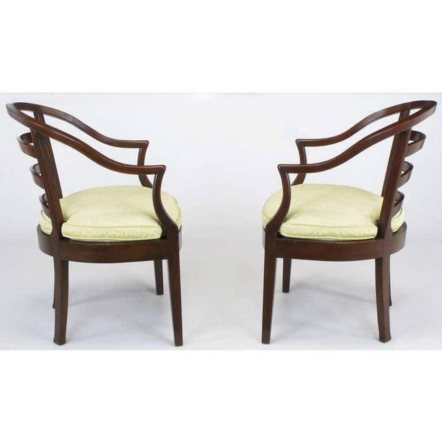 Pair Bert England For Baker Mahogany Barrel Back Arm Chairs - Image 3 of 10