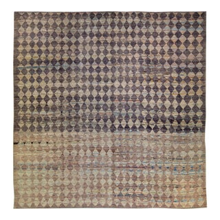 Modern Moroccan Style Handmade Diamond Check Pattern Brown Square Wool Rug For Sale