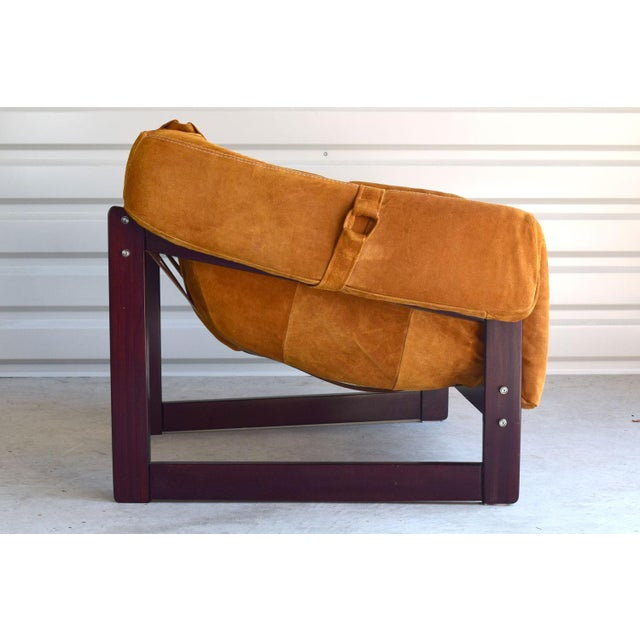Brutalist Percival Lafer Brazilian Rosewood & Suede Lounge Chairs - A Pair For Sale - Image 3 of 11