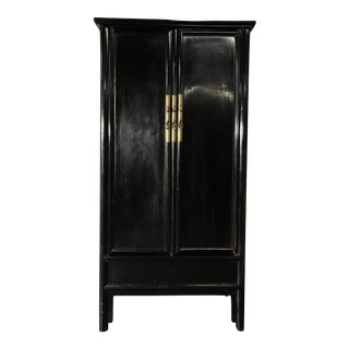 19th Century Chinese Black Lacquered Armoire/Wardrobe For Sale