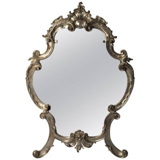 Hollywood Regency Large Italian Rococo Easel Back Table Mirror in Silver Metal For Sale