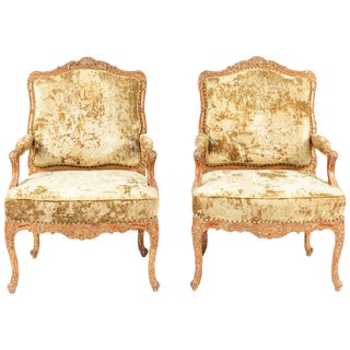 19th Century French Giltwood Armchairs - A Pair For Sale