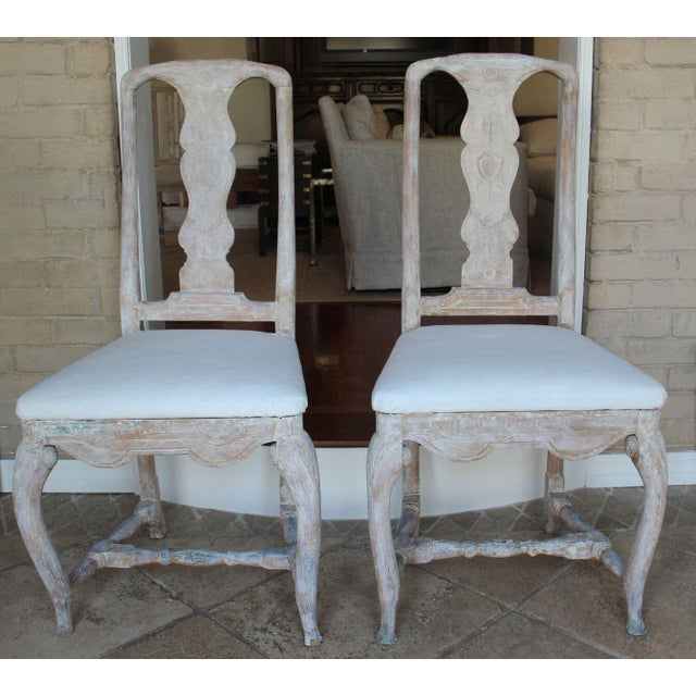 Pair of 18th Century Swedish Rococo Period Side Chairs For Sale - Image 11 of 11