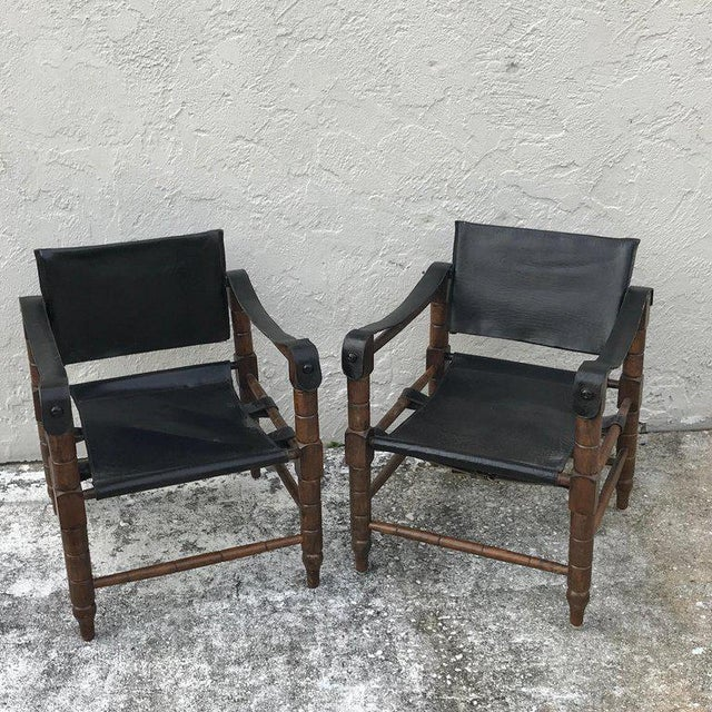 Wood Pair of Syrian Leather Campaign / Safari Chairs For Sale - Image 7 of 12